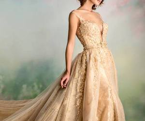 dress, gold, and wedding dress image