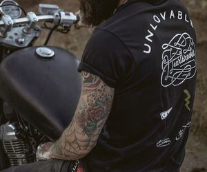 guy, motorbike, and Tattoos image