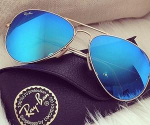 sunglasses, blue, and rayban image