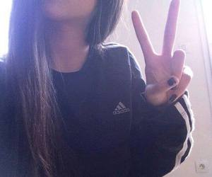 adidas jacket, swag, and brune hair image