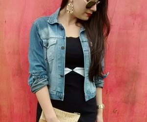 look, vestido, and jaqueta jeans image