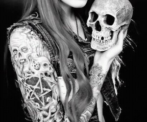 girl, tattoo, and skull image