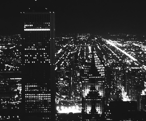 city, black and white, and lights image