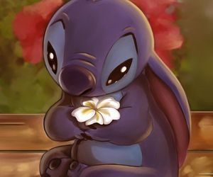 stitch, flowers, and disney image