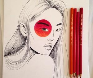 drawing, hair, and illustration image