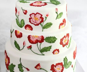 cake, rose, and embroidery image