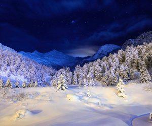 night, snow, and sky image