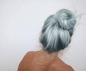 hair, blue, and bun image