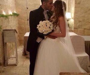 kiss, wedding, and wedding dress image