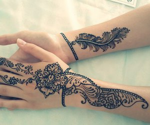 black, henna, and tattoo image