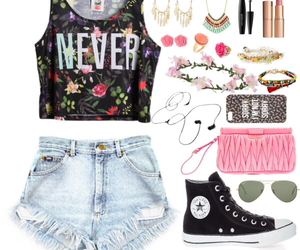 converse, earring, and flower image