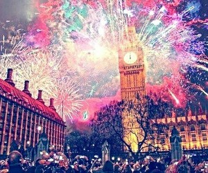 london, city, and fireworks image
