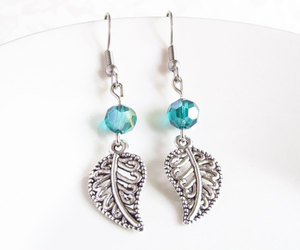 green earrings, the classy jewelry box, and leaf earrings image