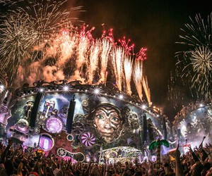 Tomorrowland, fireworks, and 2014 image