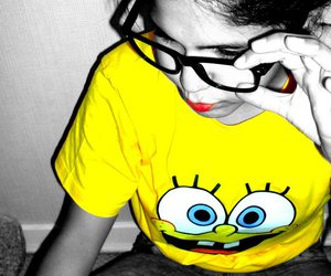 bob esponja, glases, and girl image