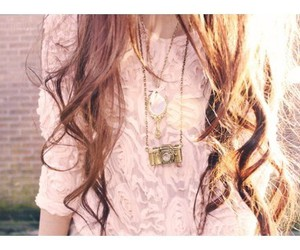 curly hair, sweater, and neclace image