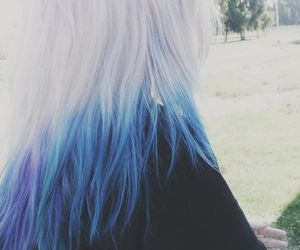hair, blue, and white image