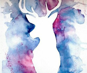 deer, blue, and draw image