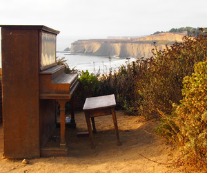 beach, california, and piano image