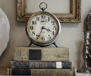 clock, books, and vintage image