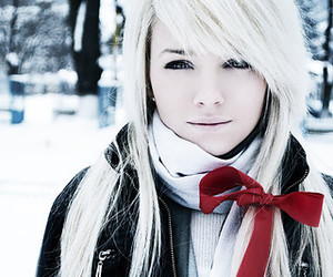 girl, snow, and white image