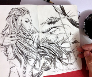 art, sketch, and tauriel image