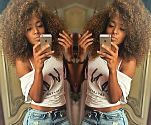 clothing, mixed race girl, and curly hair image