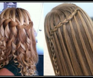 braid, curly, and watherfall image