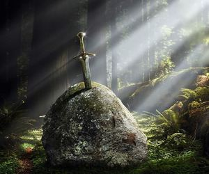 sword, excalibur, and forest image