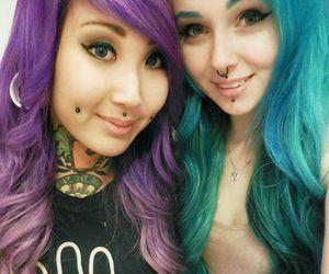 Piercings, blue hair, and girl image