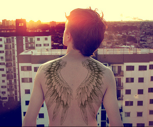 boy, tattoo, and wings image