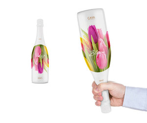 bottle, flower, and wine image
