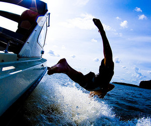 boat, water, and jumping image