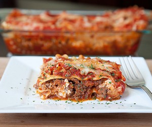 food, yummy, and lasagna image