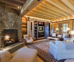interior, log cabin, and den image