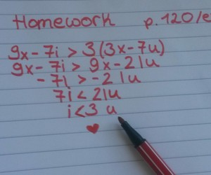 funny, homework, and ily image