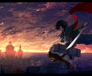 shingeki no kyojin, mikasa ackerman, and attack on titan image