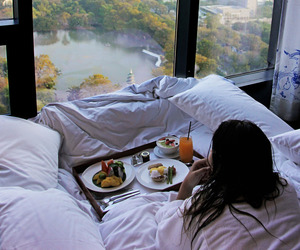 breakfast, view, and bed image