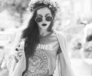 girl, black and white, and hipster image