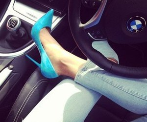 bmw, heels, and blue image