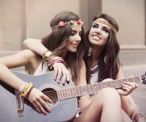 girl, guitar, and friendship image