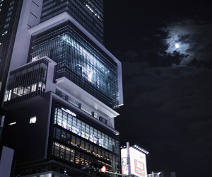 night, city, and moon image