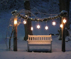 bench, christmas, and decorations image