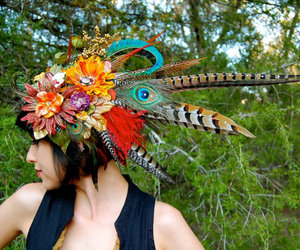 feathers, flowers, and headdress image
