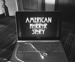 black and white, headphones, and laptop image