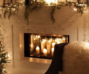 candle, christmas, and fireplace image