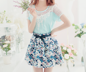 flowers, skirt, and blue image
