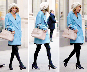 blue, coat, and fashion image