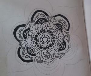 drawing, mandala, and black abd white image