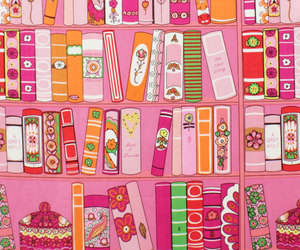 books, pink, and wallpaper image